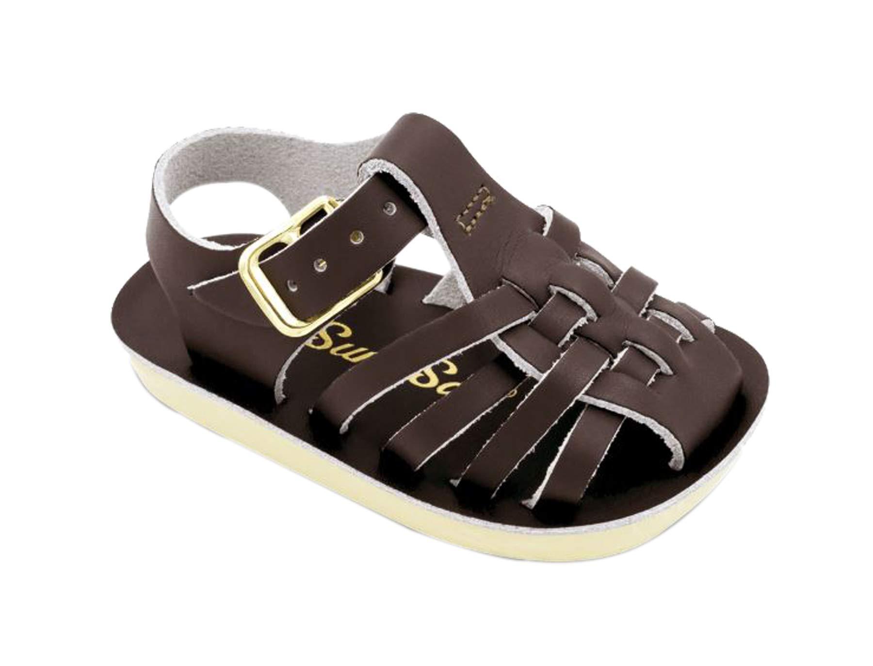 Salt Water Sandals by Hoy Shoe Girls' Sun-San Sailor Flat Sandal Brown 3 M US Infant by Salt Water Sandals
