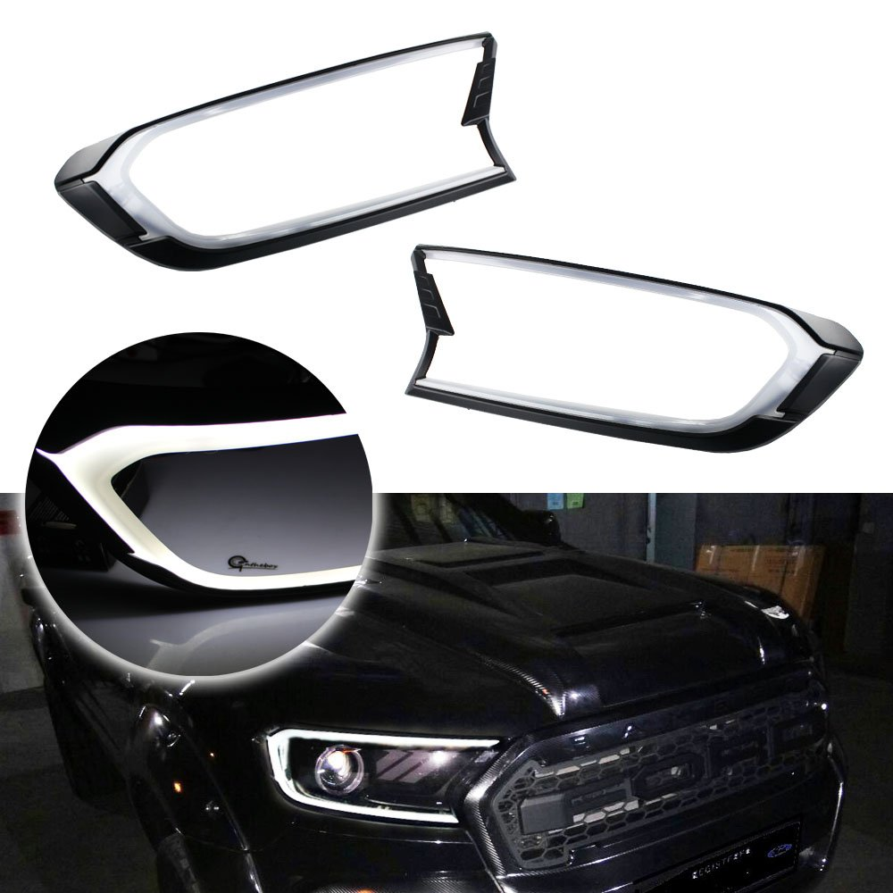 GTinthebox White LED Front Head Lights DRL Cover Trims For 2015 2016 2017 Ford Ranger T6 Facelift MK2 2Pack