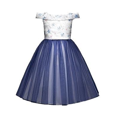 d28728fbcad ❤️Enfant Tube Haut Robes PANPANY Filles Hors épaule Robe Fleur Bowknot  Princesse Formelle Robe vêtements Filles sans Manches Arc Broderie Fleurs  Mot ...