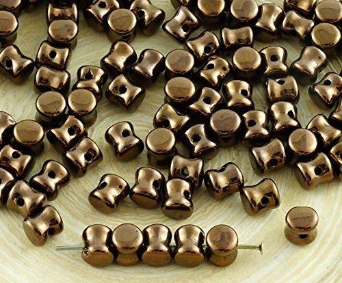 60pcs Metallic Light Bronze Luster Czech Glass Beads Czech PRECIOSA Pellet Pressed Beads 4mm x 6mm