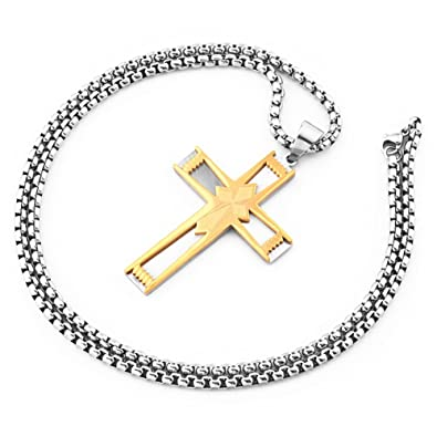 MCSAYS Hip Hop Jewelry Rhombus - Colgante de cruz de doble ...