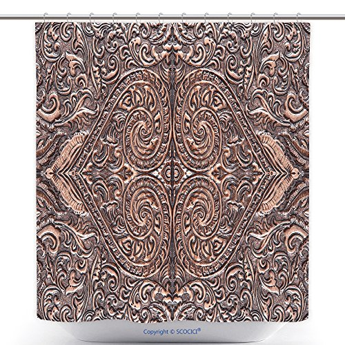 Stylish Shower Curtains The Art And Pattern Of Carving Silverware Handmade 409344004 Polyester Bathroom Shower Curtain Set With Hooks