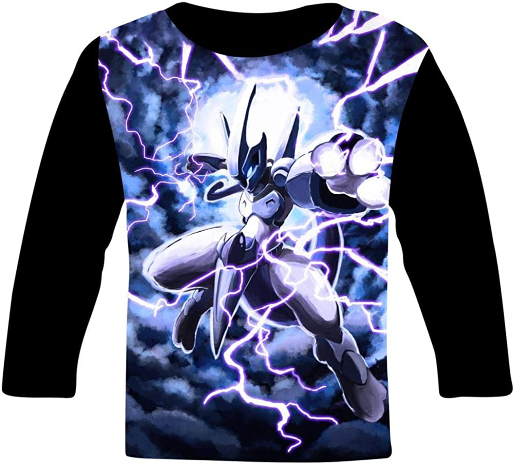 Lightning Mew-Two Kids T-Shirts Long Sleeve Tees Fashion Tops for Boys//Girls