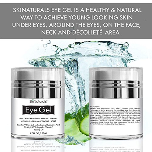 Eye Gel for Dark Circles, Puffiness, Wrinkles, Fine Lines and Bags - The Most Effective Anti-Aging Eye Cream for Under and Around Eyes with Hyaluronic Acid and Rosehip Oil - 1.7 fl. oz by SkiNaturals (Image #2)