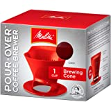 Melitta 640820 Ready Set Joe Filter Cone Pourover Cone Manual Brewer, One Cup Brewer, Red