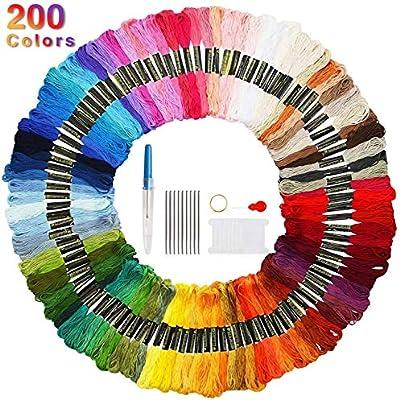 Faminess 200 Madejas Bordado Hilos de Aleatorio Colores Algodón ...