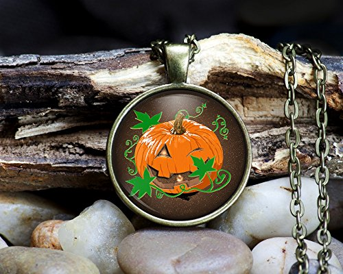 Smiling Pumpkin - Customizable Pendant Necklaces and Key chains - Halloweekn, Fall Pumpkin, 1