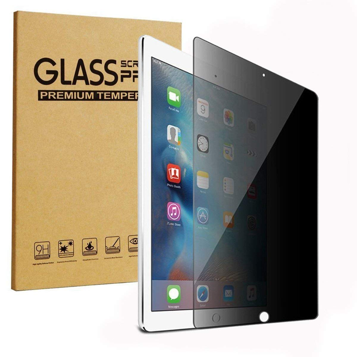 HYAIZLZ Tempered Glass Privacy Screen Protector for iPad Air 10.5 (2019) Anti-Spy Protective Film 10.5 inch 9H Hardness 2.5D Round Edge,360 Degree(4 Way)