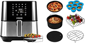 COSORI Air Fryer (100 Recipes, Rack & 4 Skewers, 9 Presets) Oven Oilless Cooker, 3.7QT-Stainless Steel & Accessories XL (C158-6AC) Set of 6 Fit all 5.8Qt, 6Qt Air Fryer, BPA Free, Black