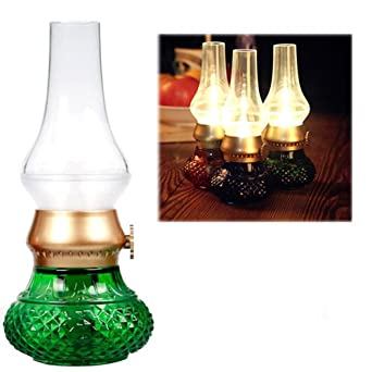 Anpress Decorative Rechargeable Flameless Candle Lantern, Vintage Oil Table  Lamp With Blow ON/OFF