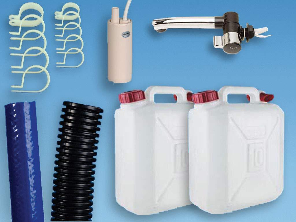 Motorhome Caravan Cold Water Starter Kit Campervan T4 T5 Plumbing Kit for Campervan Sink,Tap /& Pump /& 10L Water Containers Suit Smev 8005