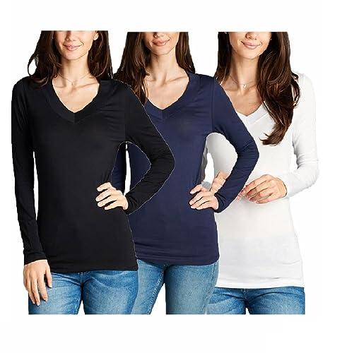 ToBeInStyle Women's Long Sleeve V-Neck T-Shirt (Small, 3 Pk: Black, Navy, White)