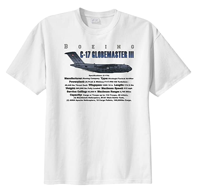23bb8194 Boeing C-17 Globemaster III Transport Aircraft WarbirdShirts Boy's Short  Sleeve T-Shirt White