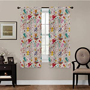 Muyindo Kitten, Curtains for Bedroom Playful Happy Kittens for Living Room, Energy Efficicent, Set of 2 Panels (42 x 63 Inch)