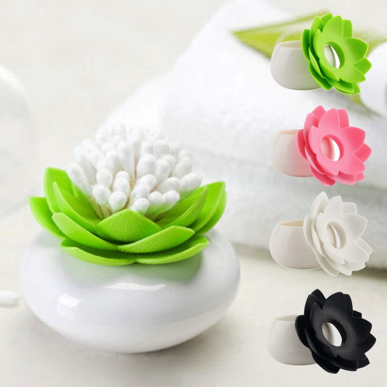 Dailyinshop Nouveau Lot de Coton-Tige Lotus Lotus Coton Bourgeon Salle de Base décorer/Lotus Porte-Cure-Dents étui à Dents