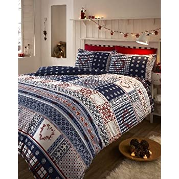 Amazon.com: Nordic Fair Isle 100% Brushed Cotton Flannelette ...