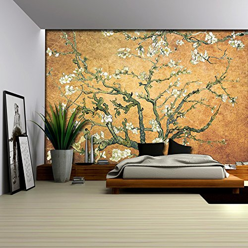 Orange Copper Almond Blossom by Vincent Van Gogh Wall Mural
