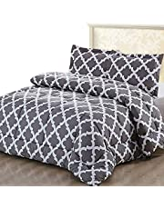Utopia Bedding Printed Comforter Set (Queen, Grey) with 2 Pillow Shams - Luxurious Brushed Microfiber - Down Alternative Comforter - Machine Washable