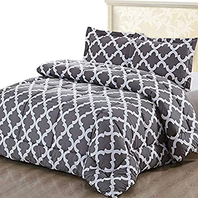Utopia Bedding Printed Comforter Set (Queen, Grey) with 2 Pillow Shams - Luxurious Brushed Microfiber - Down Alternative Comforter - Soft and Comfortable - Machine Washable - COMFORTER SET - Goose down alternative Queen size comforter measuring 88 inches x 88 inches with two pillow shams measuring 20 inches x 26 inches with 2 inches flange; constructed using techniques that include better stitching and stronger weaving BRUSHED MICROFIBER - The brushed microfiber fabric is 100 percent polyester which provides an extremely soft and comfortable feel DURABLE - Solid pattern comforter is highly durable with a high tensile strength, making it strong and less likely to rip or tear; it is filled with siliconized filling - comforter-sets, bedroom-sheets-comforters, bedroom - 61eire0GlpL. SS400  -