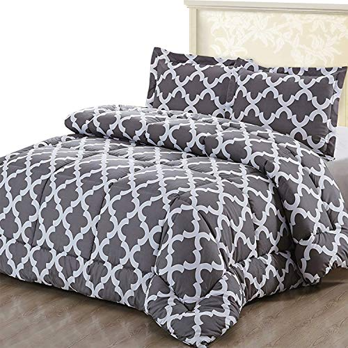 Utopia Bedding Printed Comforter Set (Full/Queen, Grey) with 2 Pillow Shams - Luxurious Brushed Microfiber - Goose Down Alternative Comforter - Soft and Comfortable - Machine Washable ()