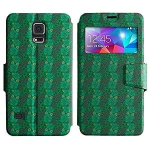 LEOCASE Flor Verde Funda Carcasa Cuero Tapa Case Para Samsung Galaxy S5 I9600 No.1001171