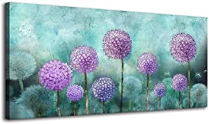 BYXART Canvas Wall Art Abstract Dandelion Picture for Living Room Decor Blossom Purple Flower Picture Wall Decals Artwork Print on Blue Background for Home Bedroom Bathroom Office Modern Decoration