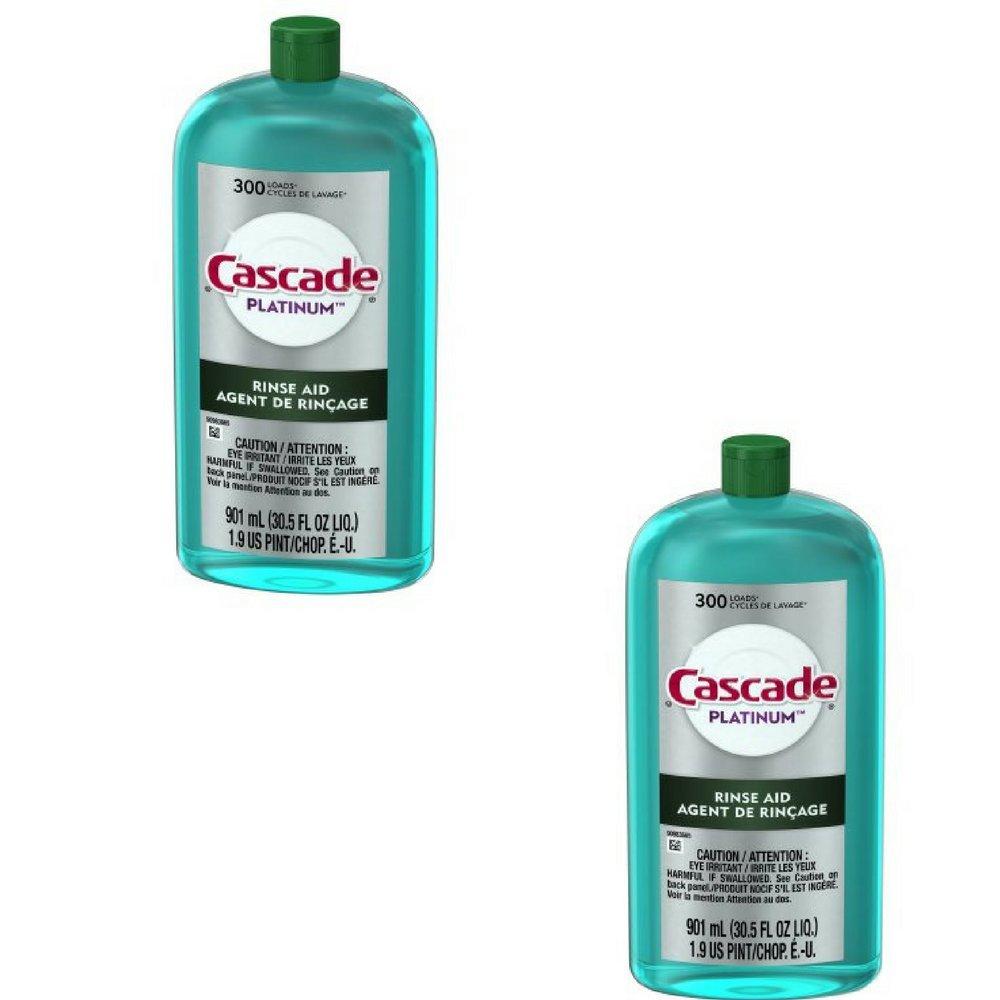 Cascade Rinse Aid Platinum, Dishwasher Rinse Agent, Regular Scent (2, -30.5 ounces) 3700089629