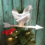 Chicken Weathervane Christmas Tree Topper, Rustic, Country Christmas, Wreath Decoration, Holiday Decoration, metal