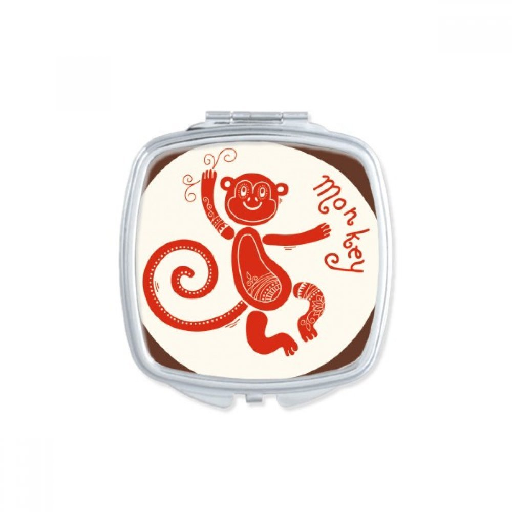 DIYthinker Year Of Monkey Animal China Zodiac Red Square Compact Makeup Mirror Portable Cute Hand Pocket Mirrors Gift