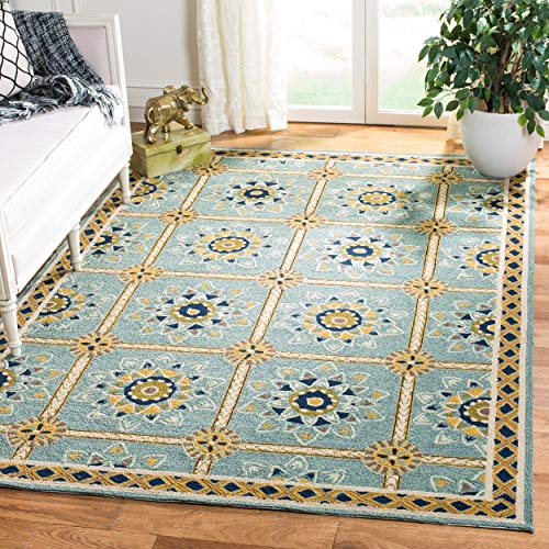 Safavieh Easy to Care Collection EZC711B Hand-Hooked Light Blue and Dark Blue Area Rug 4 x 6