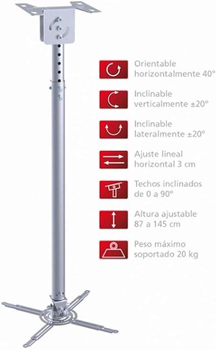 Soporte de techo para proyector en blanco extensible de 29,7 hasta 37/cm inclinable 30/° girable 360/° para BenQ TH681+
