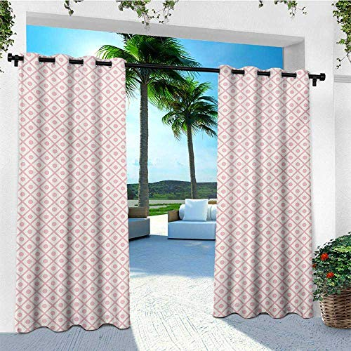 - leinuoyi Retro, Outdoor Curtain Ties, Pastel Squares with Polka Dots Geometrical Symmetrical Checked Tile Pattern, for Balcony W108 x L96 Inch Baby Pink White