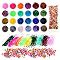 Bememo 24 Colors Slime Glitter Powder Sequins with 1000 Pieces Fruit Slices for Slime and Art Projects