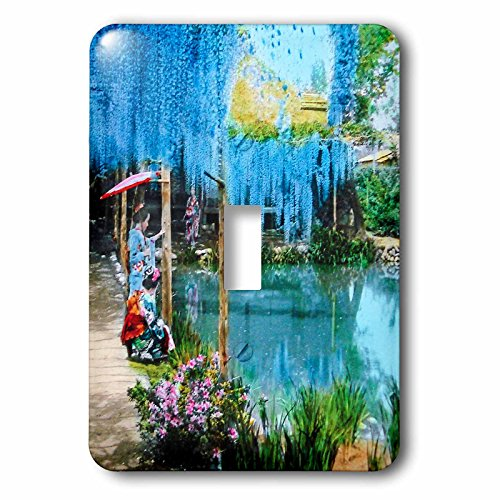 Scenes from the Past Magic Lantern - Japanese Magic Lantern Glass Slide Antique Wisteria Garden Geisha - Light Switch Covers - single toggle switch (lsp_244020_1)