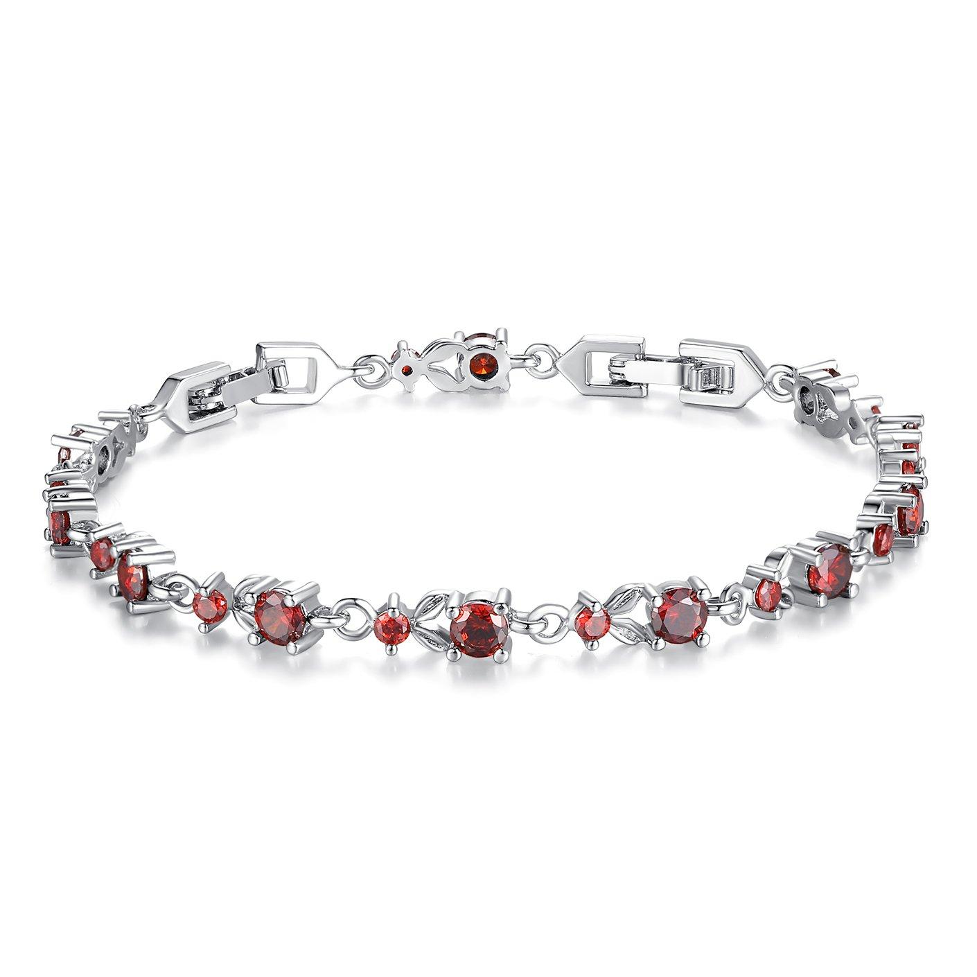 WOSTU Luxury White Gold Plated Cubic Zirconia Crystal Bracelets Women Girls Tennis Bracelets Bamoer B003-RD+BA01