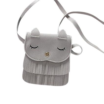 cb2a7b43ec92 Amazon.com: Adealink Cute Children Girls Tassel Small Cat Shoulder ...