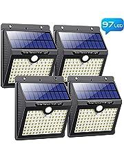 Lampe Solaire Extérieur, Pxwaxpy [ 97 LED Lot de 4] Éclairage Solaire Extérieur Détecteur de Mouvement, Spot Solaire Extérieur avec 3 Modes Intelligents Lumière Solaire Étanche pour Jardin