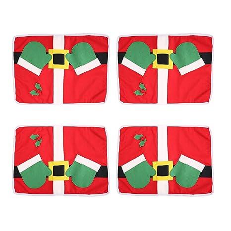 BESTOYARD Adornos Navideños Bolsita para Cubiertos Decoración Cena Mesa para Navidad 4 Piezas