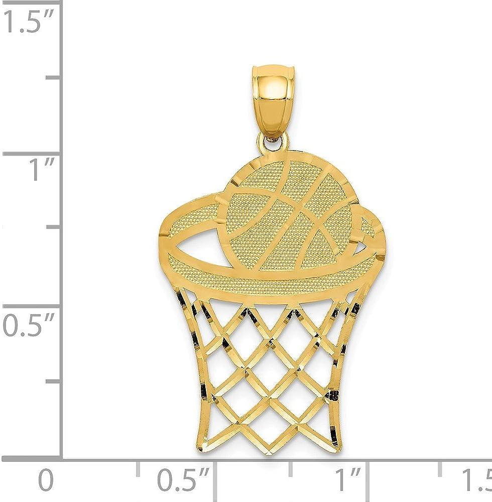 FB Jewels Solid 14K Yellow Gold Basketball In Hoop Diamond Cut Pendant