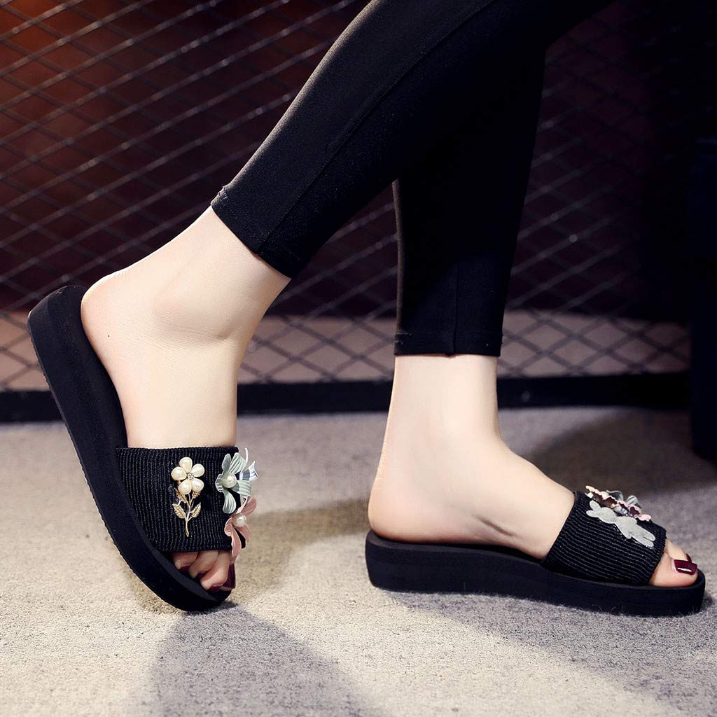 Lurryly Womens Fashion Flowers Pearl Platform Sandals Outdoor Slippers Beach Shoes