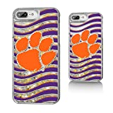 Keyscaper NCAA Clemson Tigers CU Wave Glitter Case for iPhone 8 Plus/7 Plus/6 Plus, Clear