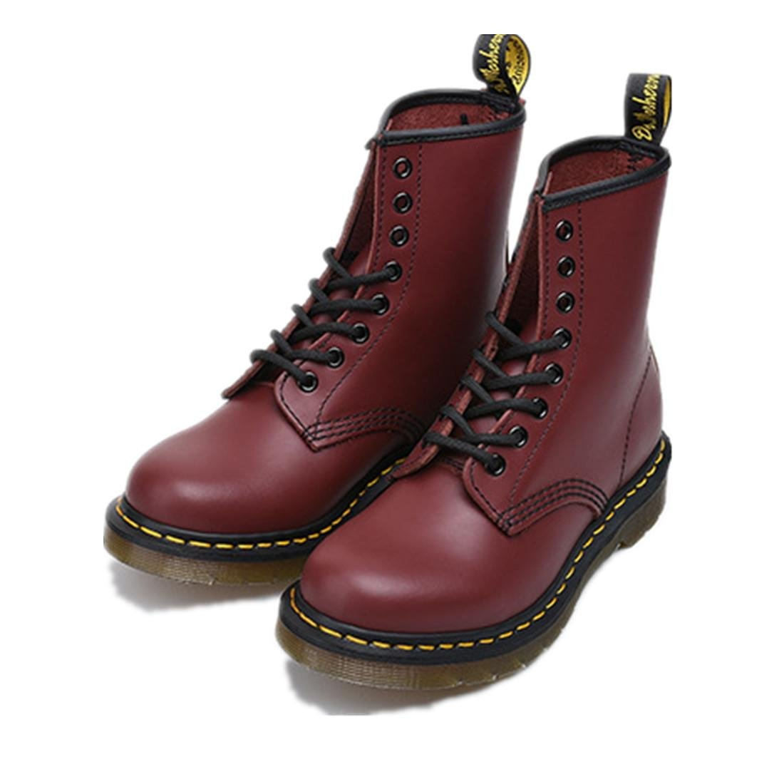 Damen Männer kurze Stiefel Dicke untere Paar Paar Paar Einzel Schuhe Flache neue Mode Martin Stiefel Schnüren sich oben Echtes Leder Anti-Verschleiß Anti-Rutsch Wein Rot Frühling Herbst Winter d92ee2