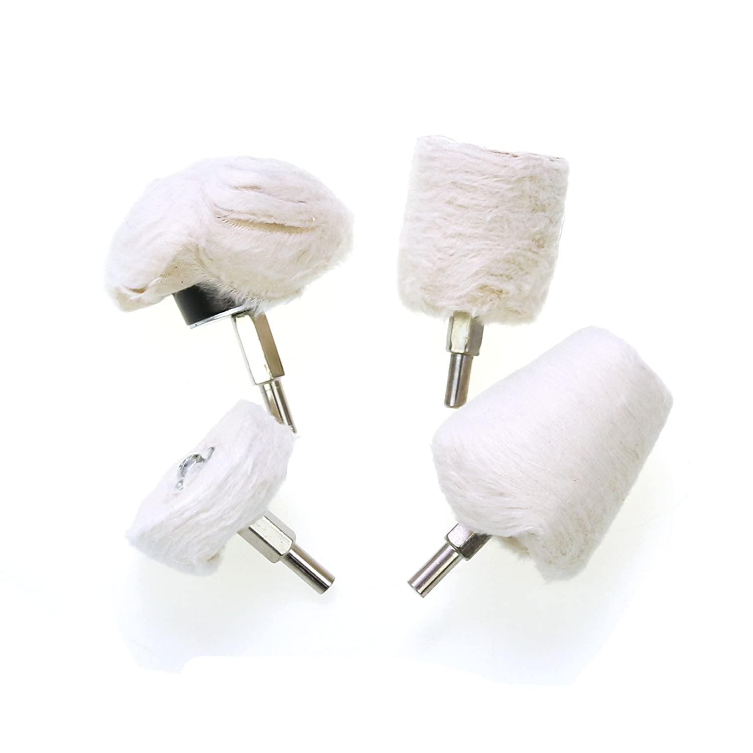 4Pcs Buffing Polishing Wheels, White Flannelette Polishing Wheel Cone/Column/Mushroom/T-Shaped Wheel Grinding Head With 1/4' ' Handle For Metal Aluminum, Stainless Steel, Chrome, Jewelry, Wood, Plastic, Ceramic, Glass Pomcat