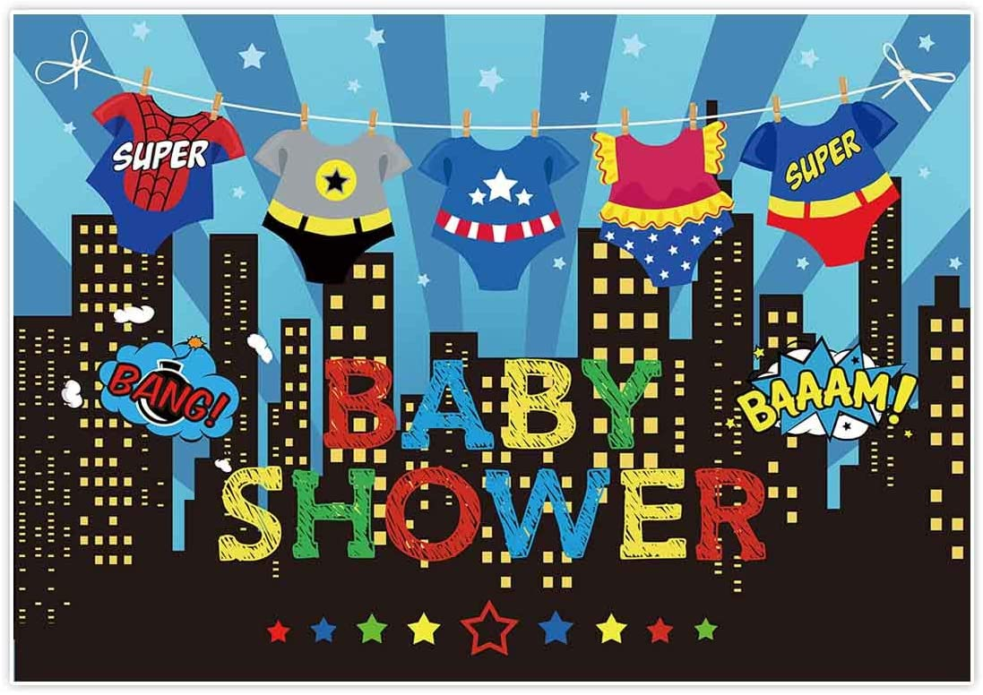 Allenjoy 7x5ft Superhero Baby Shower Backdrops Blue Super City Skyline Buildings Children Boy 1st Themed Birthday Photography Party Event Banner Photo Studio Booth Background Baby Shower Photocall