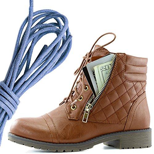 Dailyshoes Femmes Lace Militaire Boucle Boucle Bottes De Combat Cheville Haute Carte De Crédit Exclusive Poche, Royal Blue Tan Pu