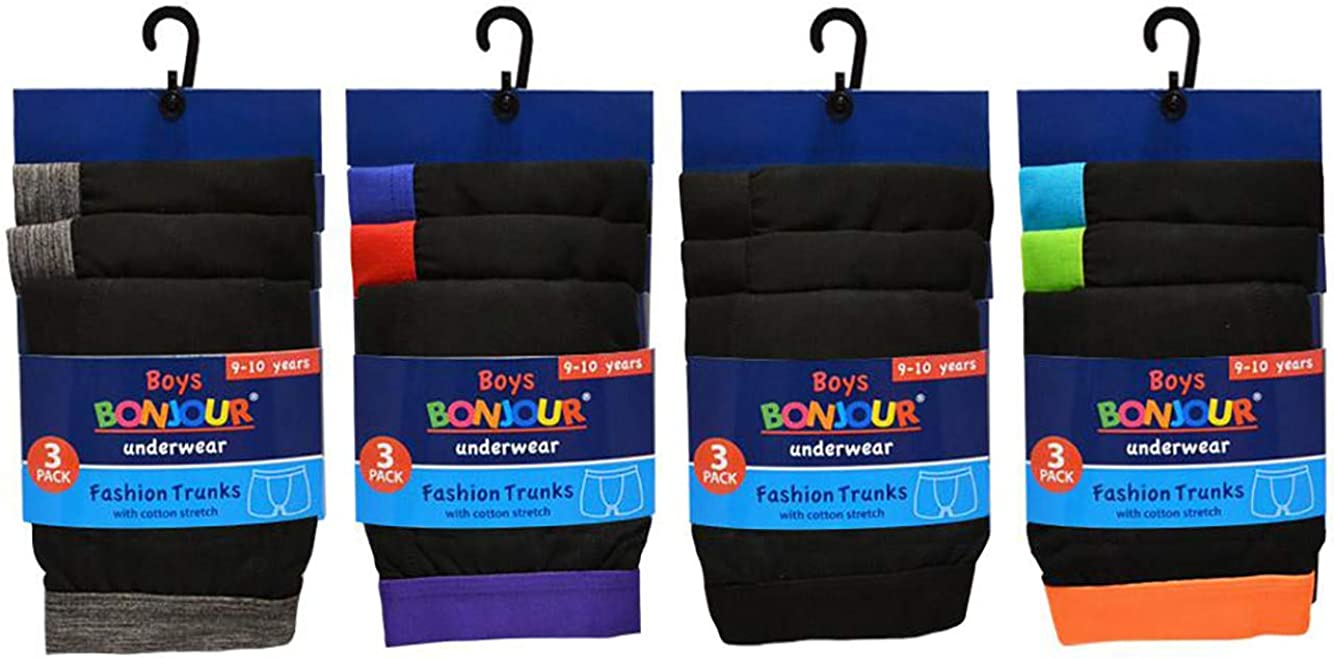 Cotton Designer Trunk Boxers Underwear 6 /& 12 Pack Bonjour/® Boys Boxer Shorts 5 yrs - 13 yrs