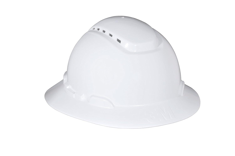 3M Full Brim Hard Hat H-801V, White 4-Point Ratchet Suspension, Vented