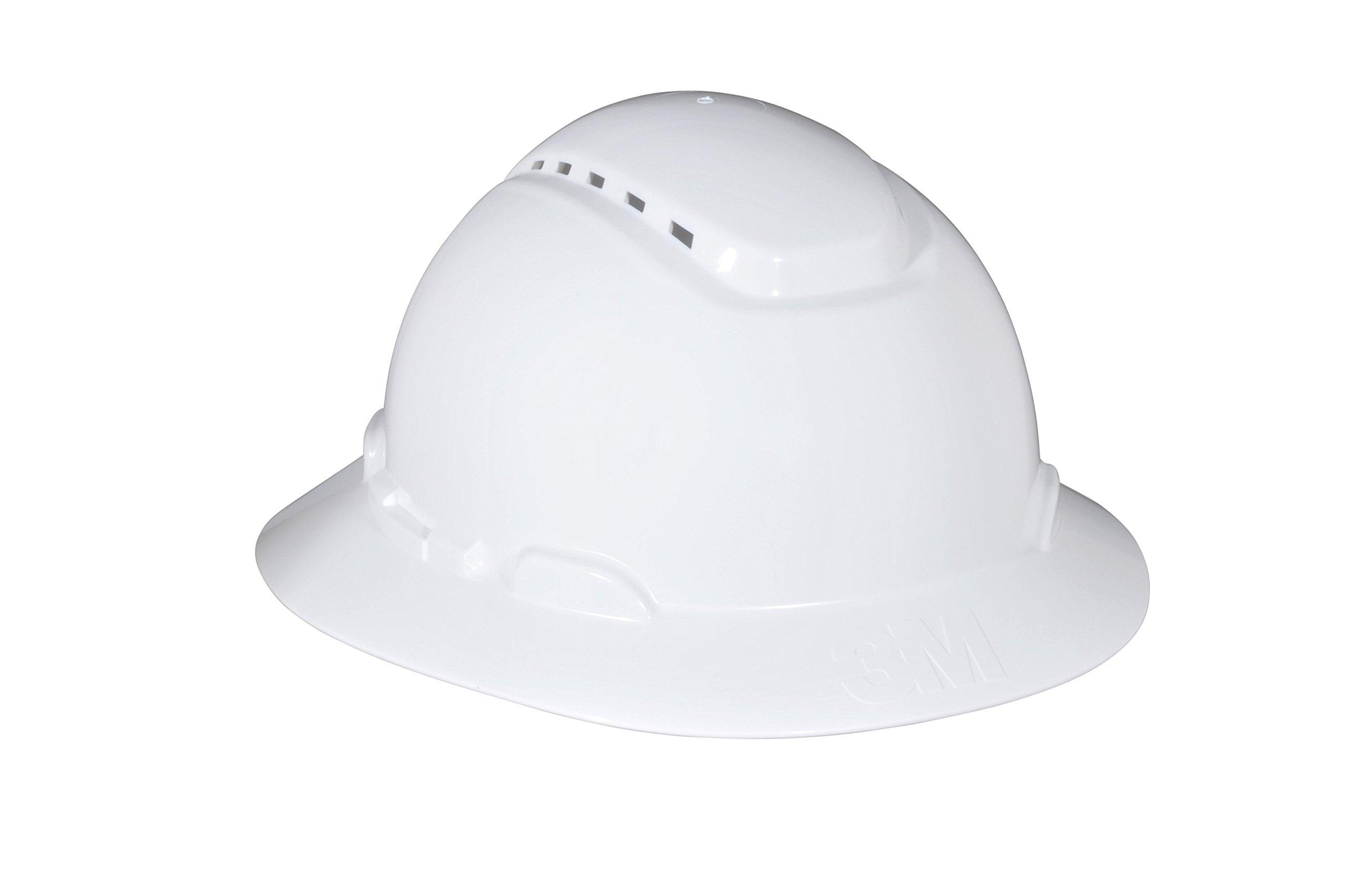 3M Full Brim Hard Hat H-801V, 4-Point Ratchet Suspension, Vented, White