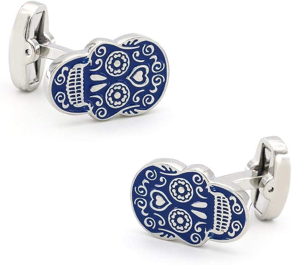 Day Of The Dead Blue Skulls Cufflinks//D/ía de Los Muertos Gemelos