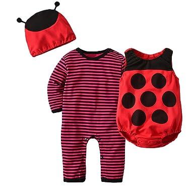b4e81e013d844 Lukis 3 Pièces Barboteuse Gilet Bonnet Costume Déguisement Animal Coccinelle  Ensembles Vêtements De Nuit Pyjama Bébé